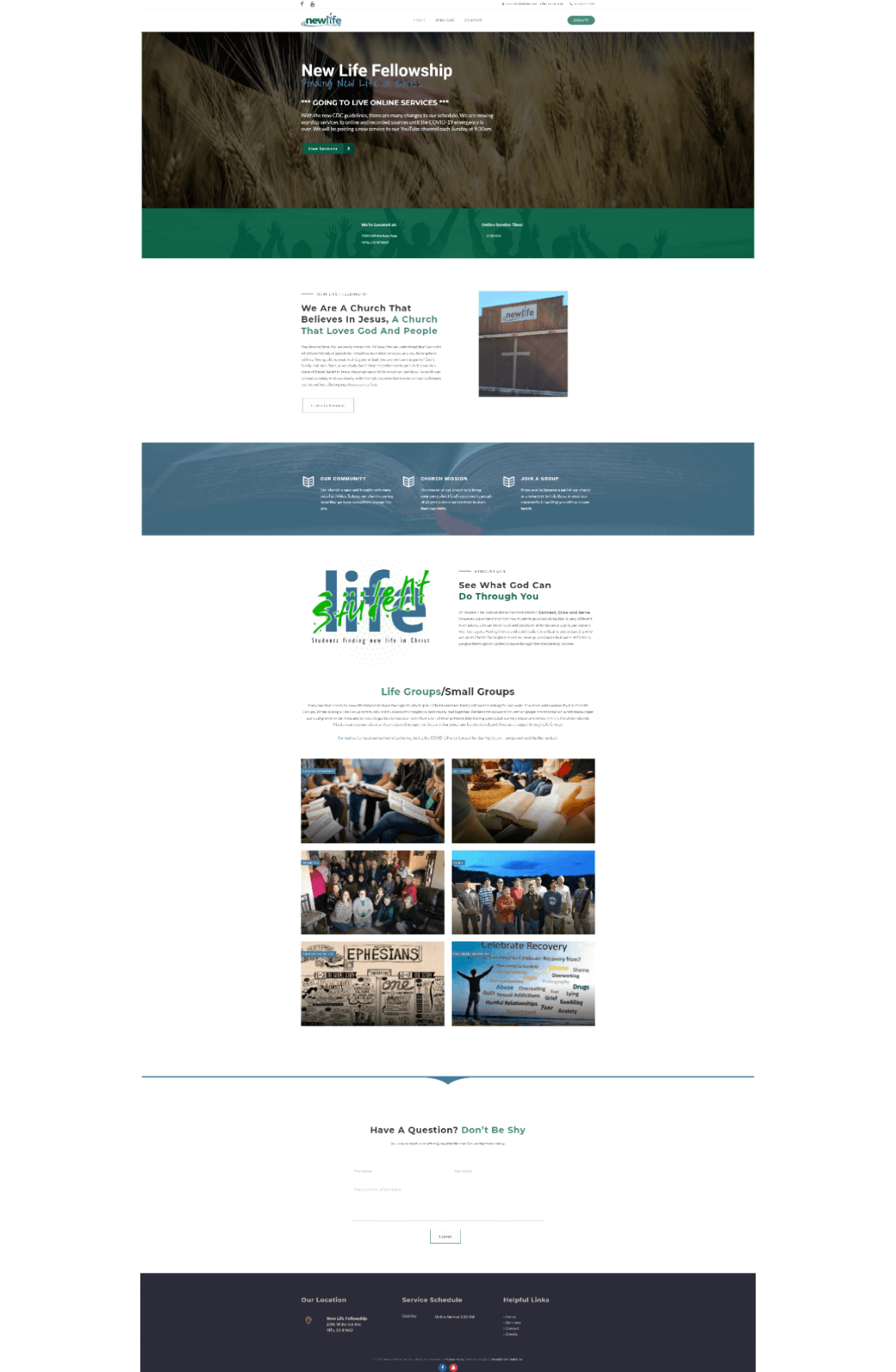 New Life Fellowship new website home page